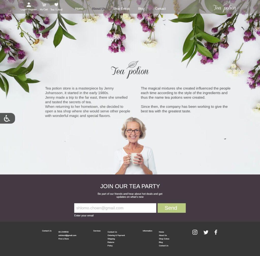עיצוב אתר Tea shop